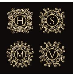 Set of vintage monogram vector image