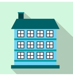 Three-storey house flat icon vector
