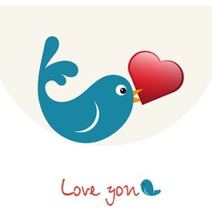 Nice enamoured birdie with heart vector