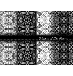 Collection of black and white seamless pattern vector