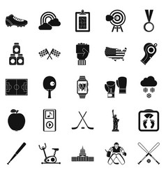 American sport icons set simple style vector