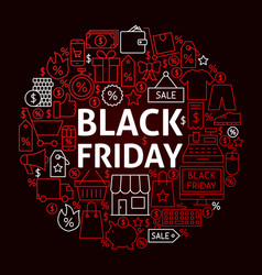 black friday line circle concept vector image vector image