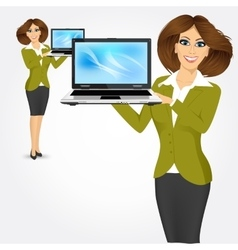 career woman holding laptop vector image vector image