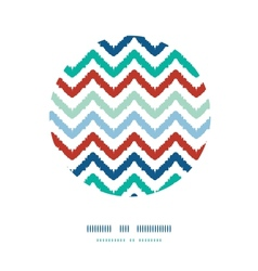 Colorful ikat chevron frame circle decor pattern vector
