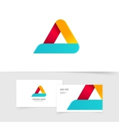 Colorful triangle logo with rounded corners vector image vector image