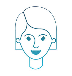 Female face with short hair in degraded blue vector