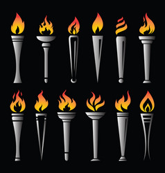 Fire torch victory champion on black background vector