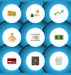 Flat icon finance set of money box hand with coin vector