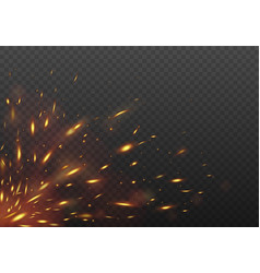 glowing red flying fire sparks fire isolated on a vector image vector image