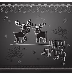 Hand drawn christmas deers and handwritten words vector