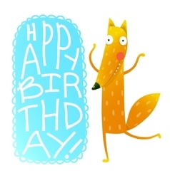 Happy birthday card design with cute cartoon fox vector