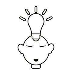 Head thinking bulb idea innovation outline vector