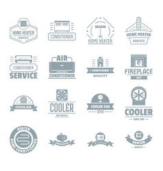 heating cooling logo icons set simple style vector image