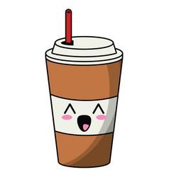 Kawaii paper cup soda straw vector