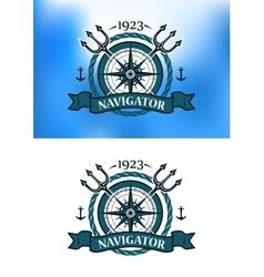 Marine heraldic label vector image