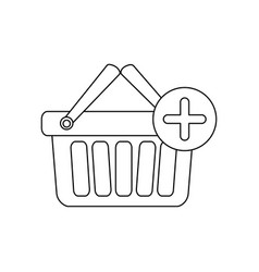 monochrome contour with shopping basket with two vector image vector image