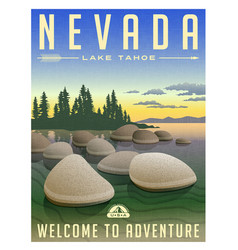 nevada lake tahoe travel poster vector image vector image
