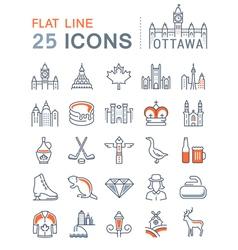 Ottawa Line Icons 4 vector image vector image