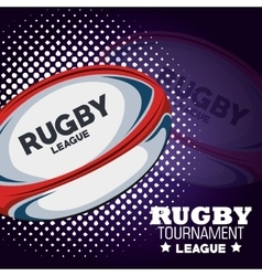 Rugby tournament league ball and dots vector