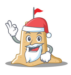 Santa sandcastle character cartoon style vector