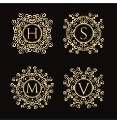 Set of vintage monogram vector image