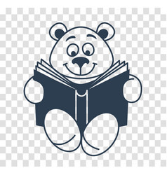 Silhouette icon teddy bear with a book vector