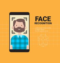 Smart phone scanning man face modern recognition vector