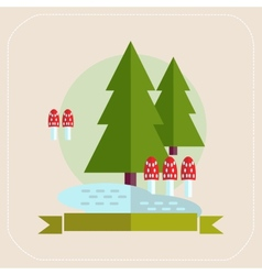 Trees and mushrooms flat icon vector