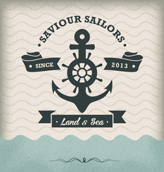 Vintage anchor with ribbon vector