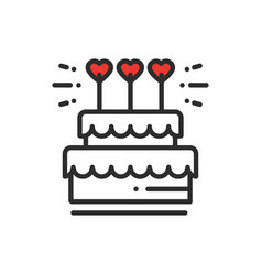 Wedding cake with heart topper line icon wedding vector