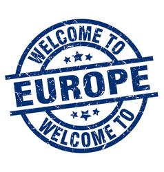 Welcome to europe blue stamp vector