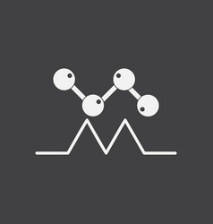White icon on black background molecules and vector