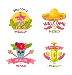 Mexican welcome emblem set vector
