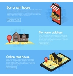 Banners set real estate online searching vector