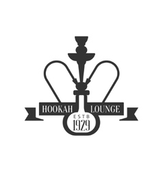 Hookah and ribbon premium quality smoking club vector