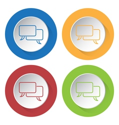 Four round color icons - outline speech bubbles vector