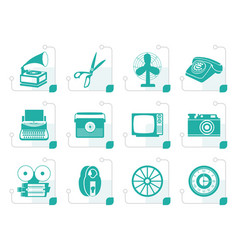 stylized retro business and office object icons vector image
