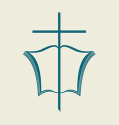 the open bible and the cross vector image