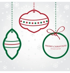 Christmas set of fir tree and evening balls new vector