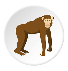 Brown monkey standing on its four legs icon circle vector