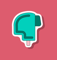 Paper sticker on stylish background ski helmet vector