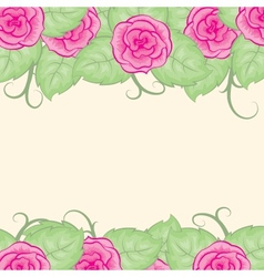 Background with roses on top and bottom vector
