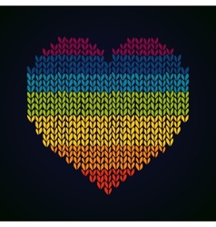 Rainbow knitted heard background template for vector