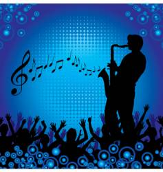 circles crowd hands sax vector image