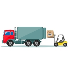 Truck and loader with box delivery of cargo vector