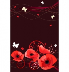 frame with butterflies and poppies vector image
