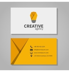 Creative agensy business card template with light vector