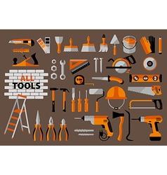 Buildings tools icons set vector