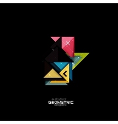 Colorful geometric shapes with texture on black vector