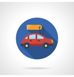 Red automobile with label flat color icon vector